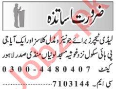 Teacher & Science Teacher Jobs 2021 in Lahore