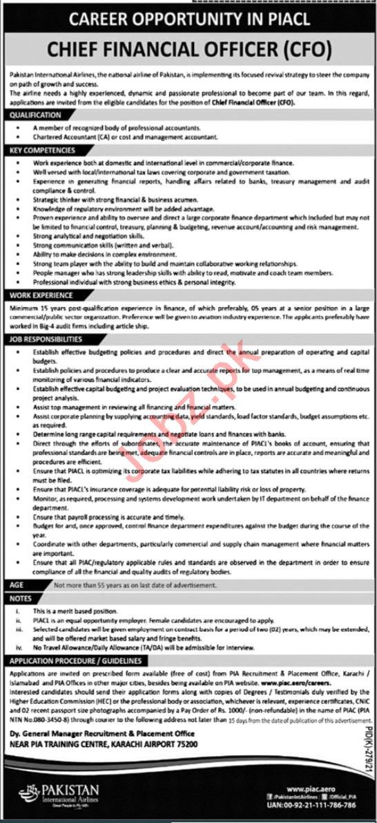 Pakistan International Airlines PIA Karachi Jobs 2021
