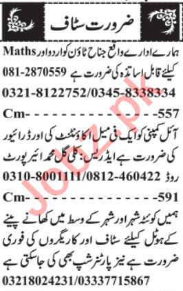 Female Accountant & Hotel Manager Jobs 2021 in Quetta