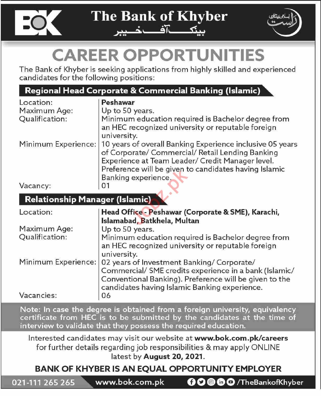 The Bank of Khyber BOK Jobs 2021 Regional Head Corporate