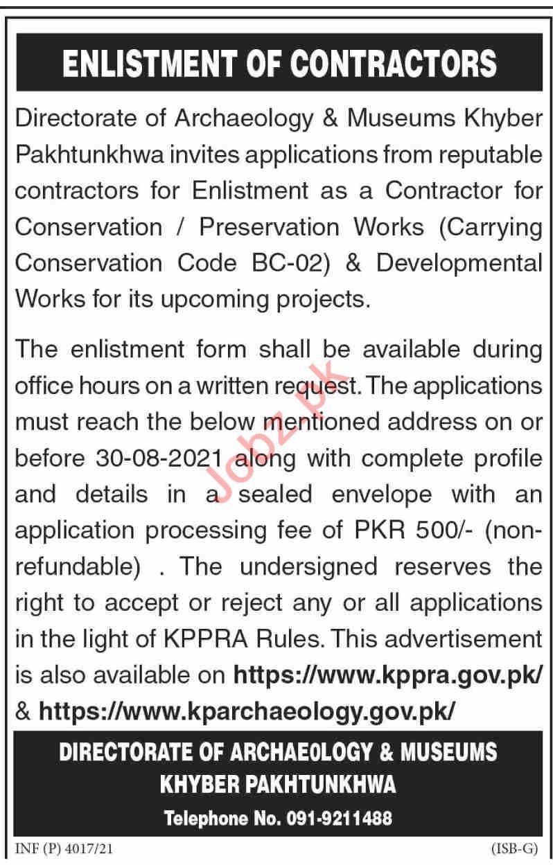 Directorate of Archaeology & Museums KPK Jobs 2021