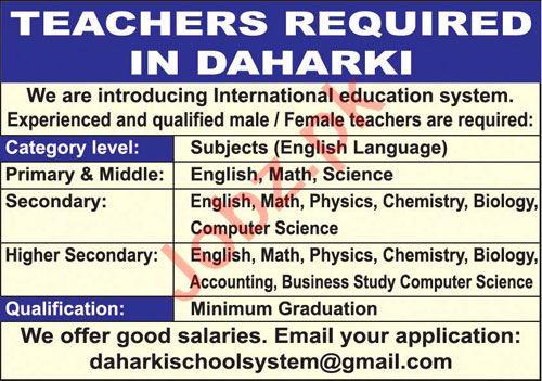 Subject Teacher & Primary Teacher Jobs 2021 in Daharki