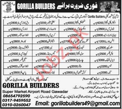 Gorilla Builders Gawadar Jobs 2021 for Engineers & Welders