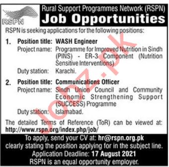 Rural Support Programmes Network RSPN Islamabad Jobs 2021