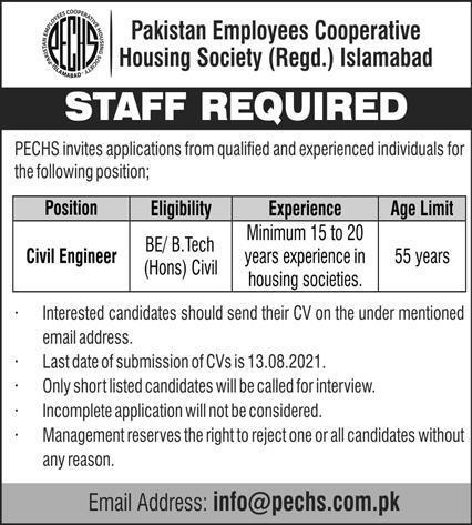 Pakistan Employees Cooperative Housing Society Jobs 2021