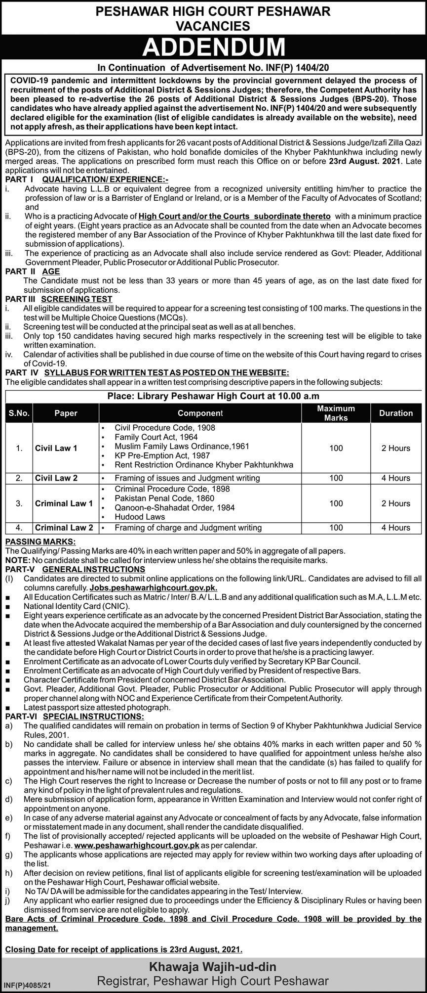 Peshawar High Court Jobs 2021