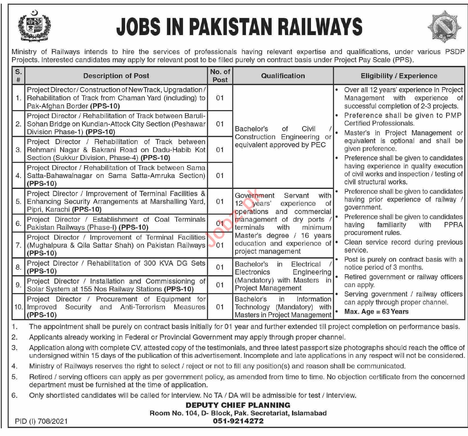 Project Director Jobs 2021 in Ministry of Railways Islamabad