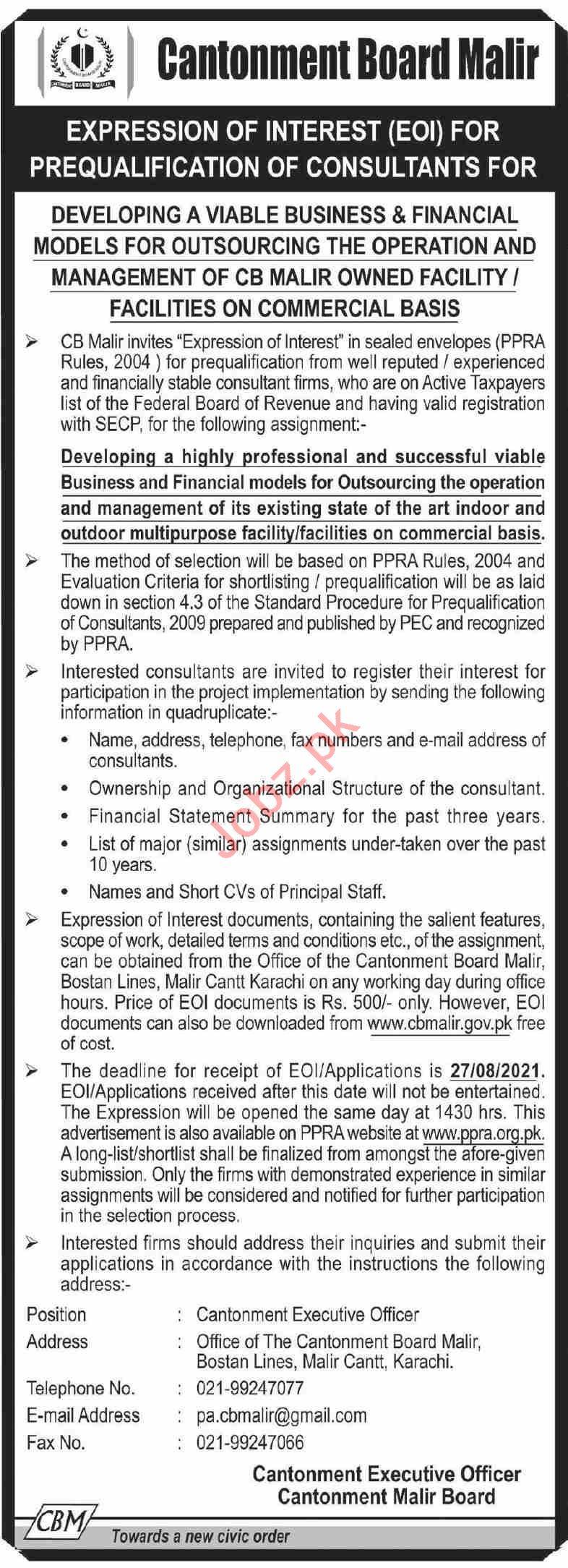 Cantonment Board Malir CBM Karachi Jobs 2021