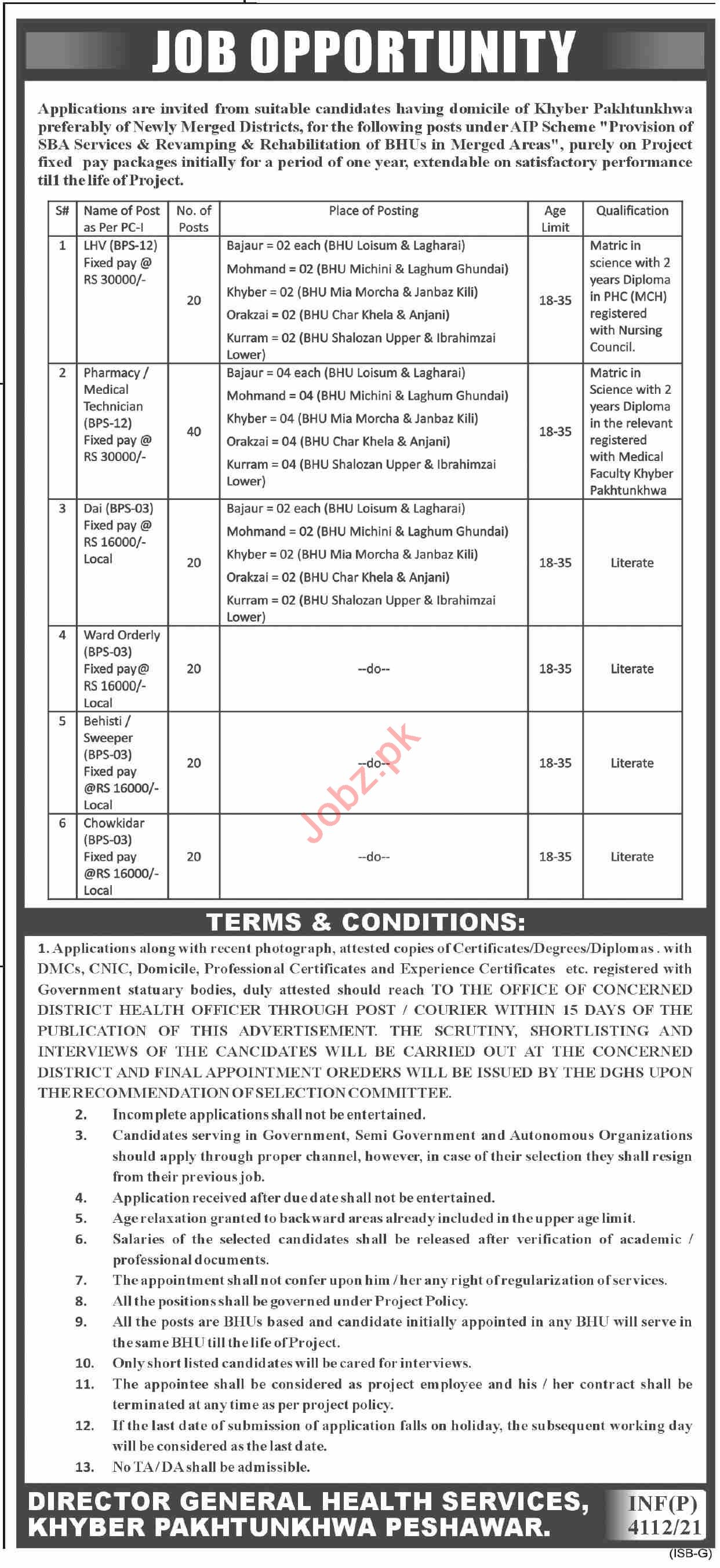 Director General Health Services Khyber Pakhtunkhwa Jobs