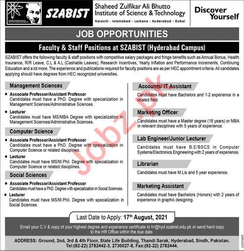 SZABIST Institute of Science & Technology Hyderabad Jobs