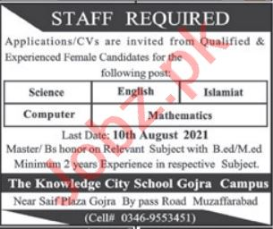 The Knowledge City School Gojra Muzaffarabad Jobs 2021