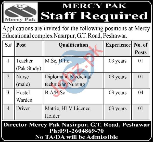 Mercy Pak School College Peshawar Jobs 2021 for Teachers