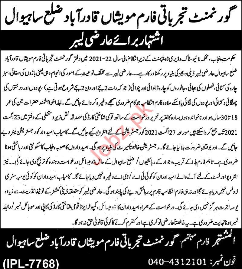 Govt Livestock Experiment Station Qadirabad Jobs 2021