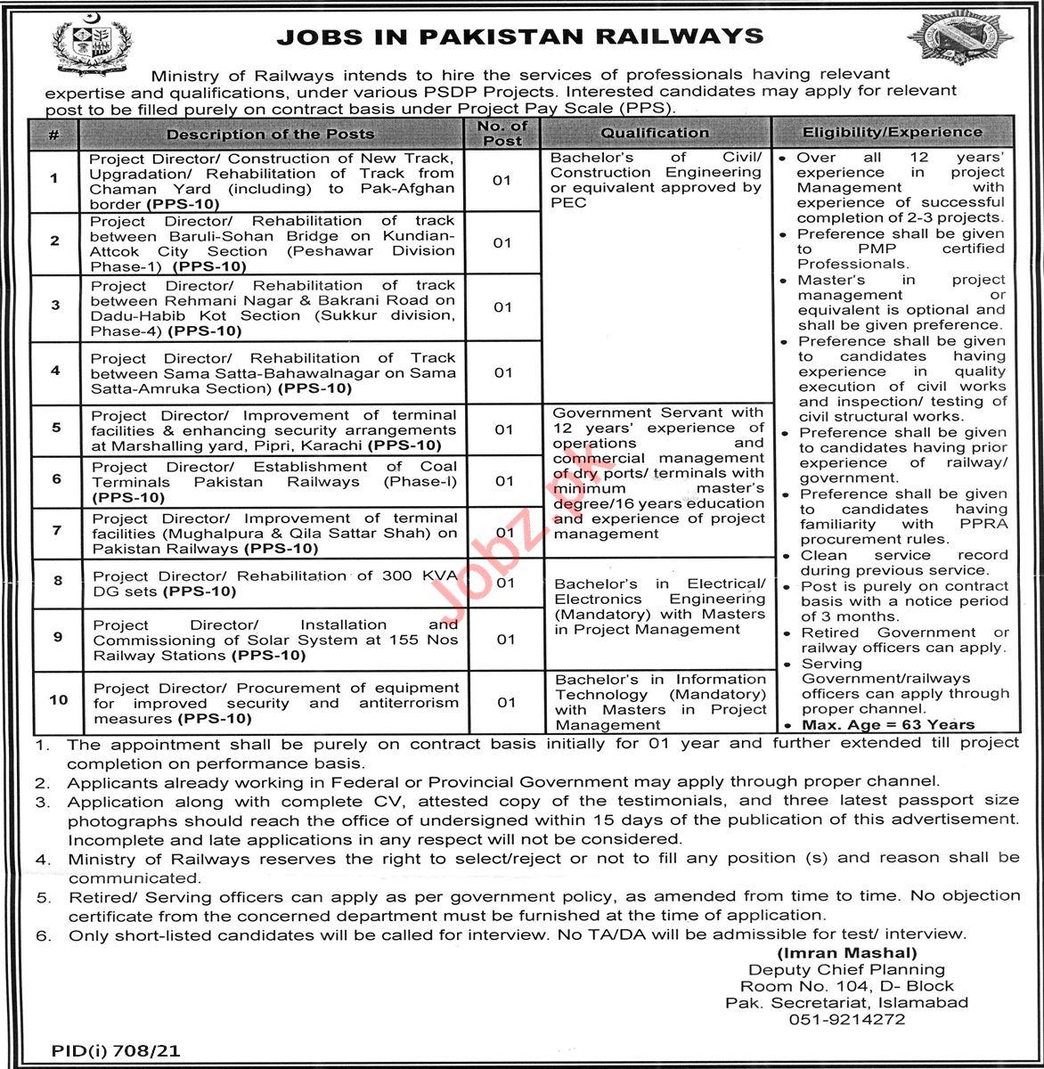 Pakistan Railways Islamabad Jobs 2021 for Project Director
