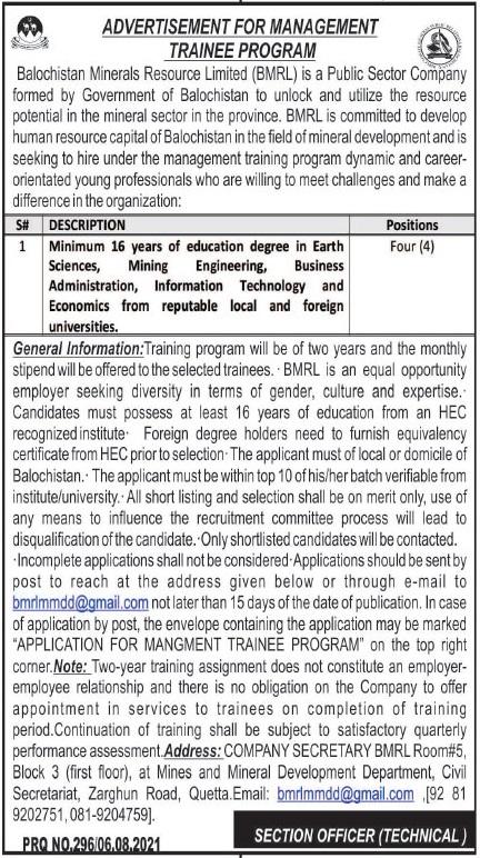 Balochistan Mineral Resource Limited Management Trainee Jobs