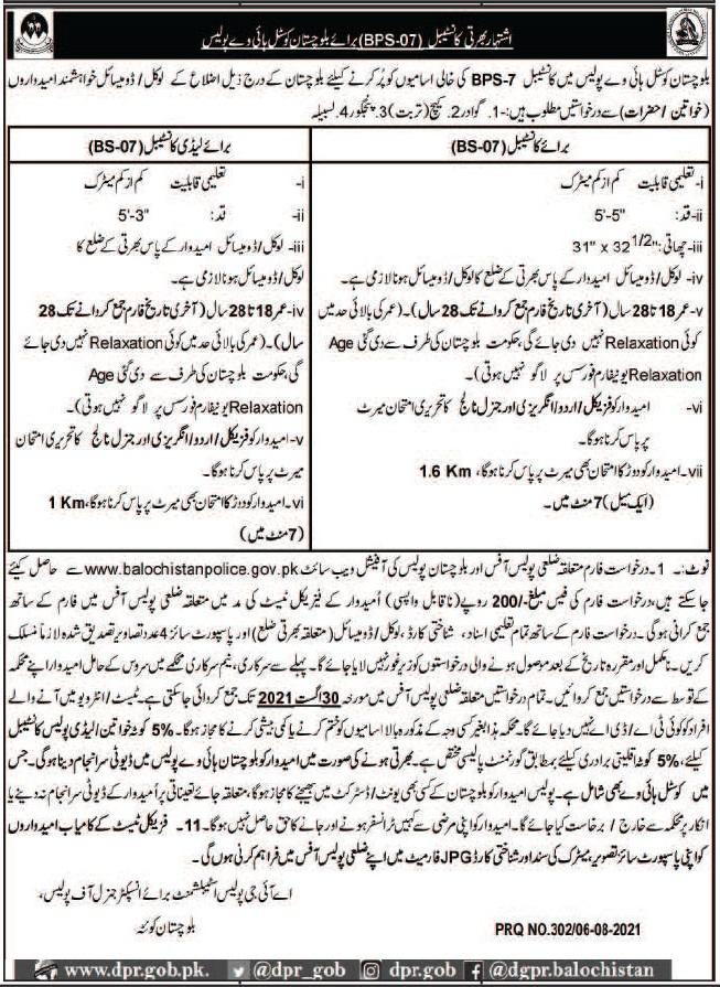 Balochistan  Coastel Highway Police Constable Jobs 2021