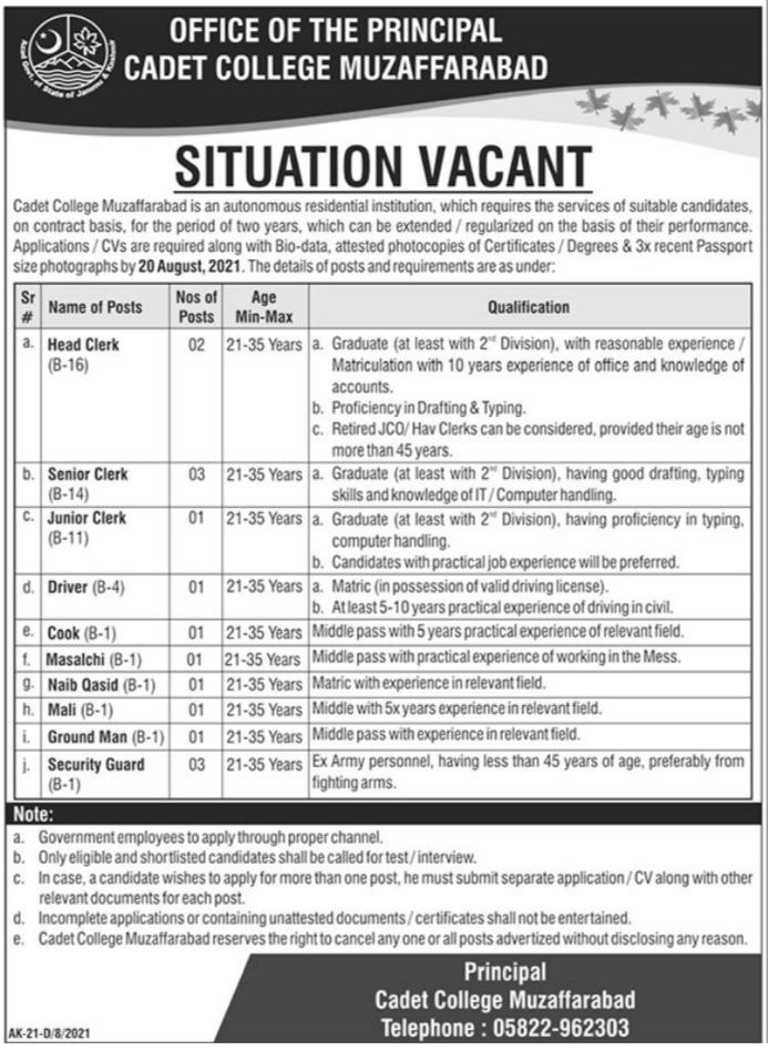 Cadet College Muzaffarabad Management Jobs 2021