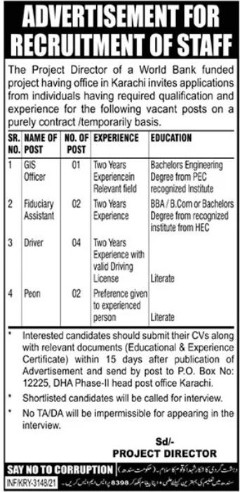 World Bank Funded Project Management Jobs 2021