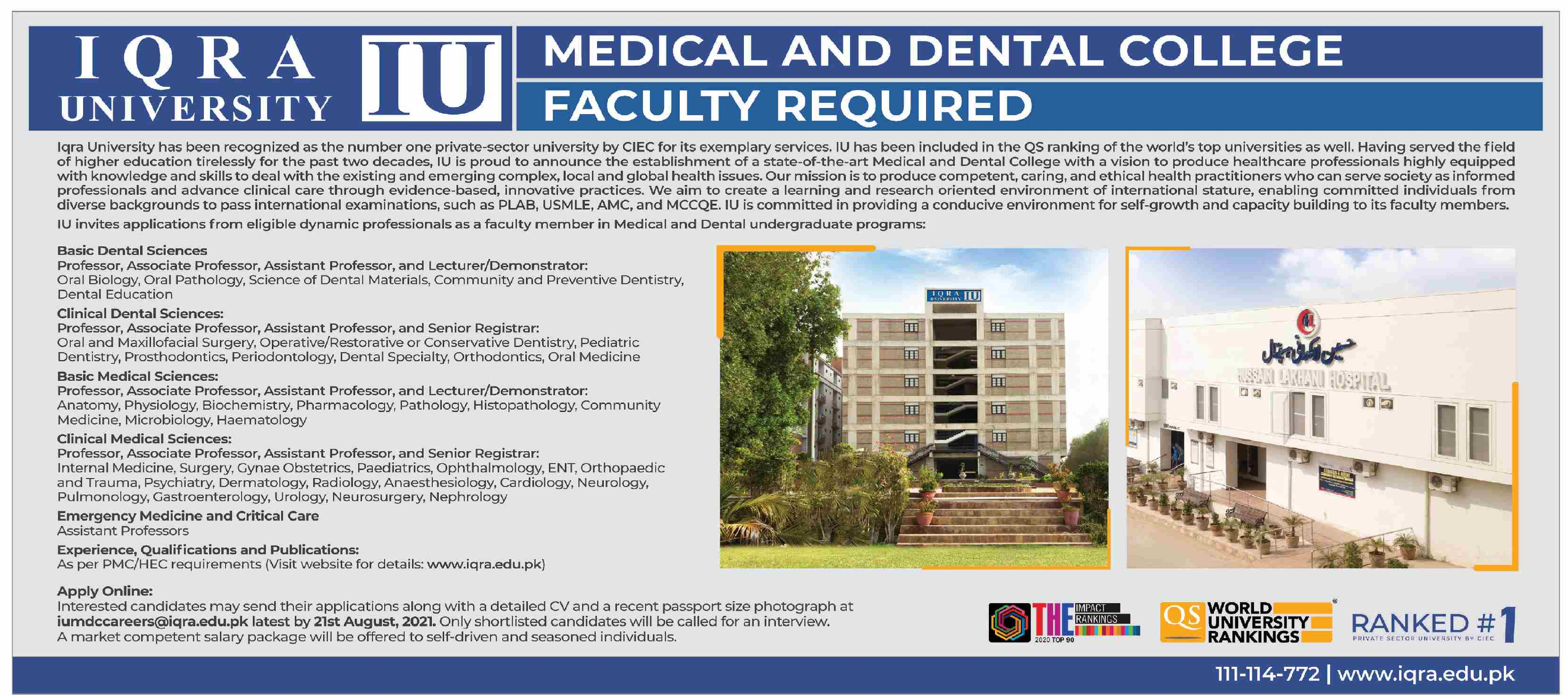 Iqra University IU Jobs 2021