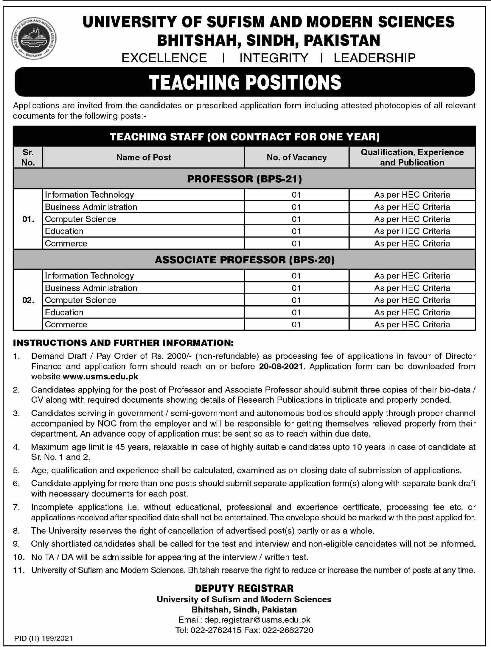 University of Sufism and Modern Sciences Jobs 2021