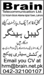 Brain Telecommunication Limited Jobs 2021 In Lahore