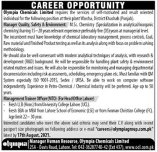 Olympia Chemicals Limited Jobs 2021 In Khushab & Lahore