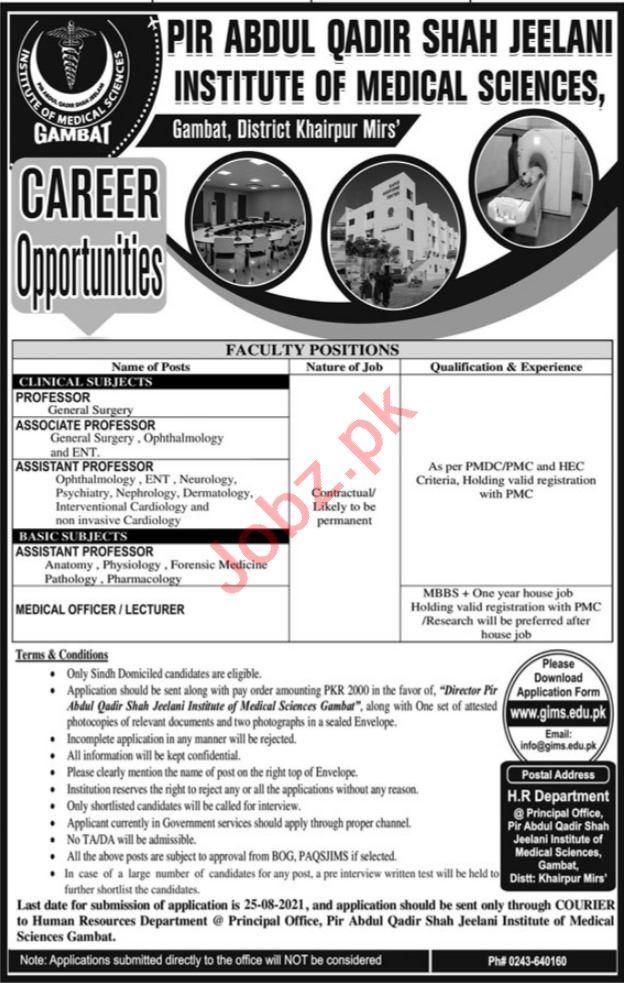 Gambat Institute of Medical Science GIMS Khairpur Jobs 2021