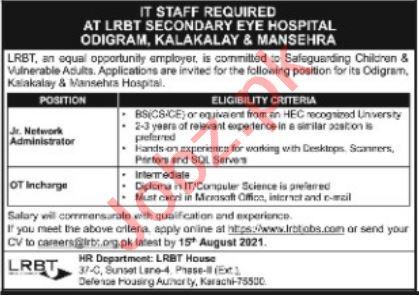 LRBT Secondary Eye Hospital Mansehra Jobs 2021