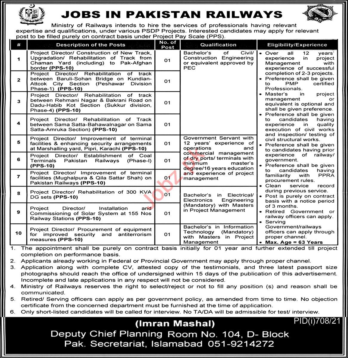 Pakistan Railways Jobs 2021 for Project Directors