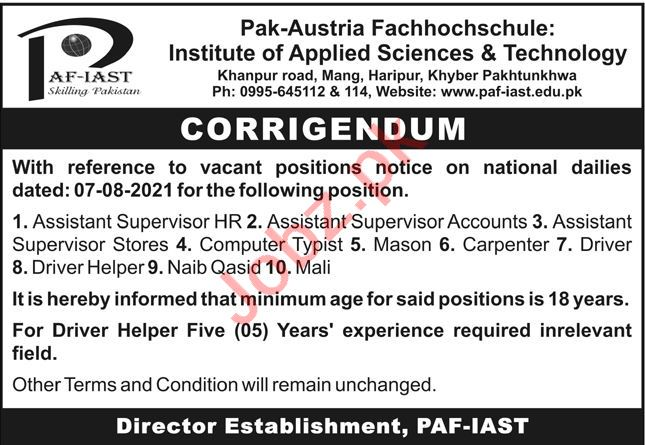 Pak Austria Fachhochschule Institute PAF IAST Jobs 2021