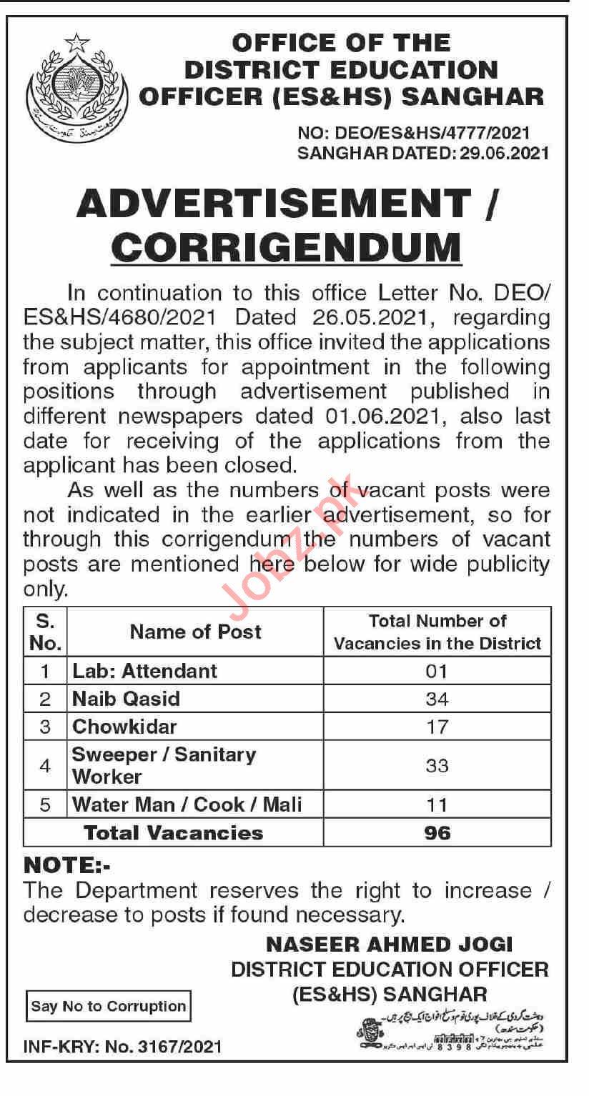 District Education Officer ES&HS Sanghar Jobs 2021