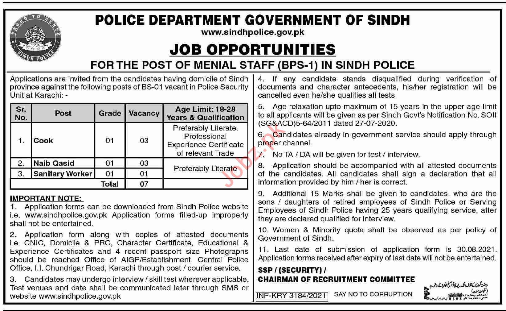 Police Department Sindh Jobs 2021 for Cook & Naib Qasid