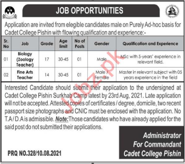 Cadet College Pishin CCP Jobs 2021 for Teachers