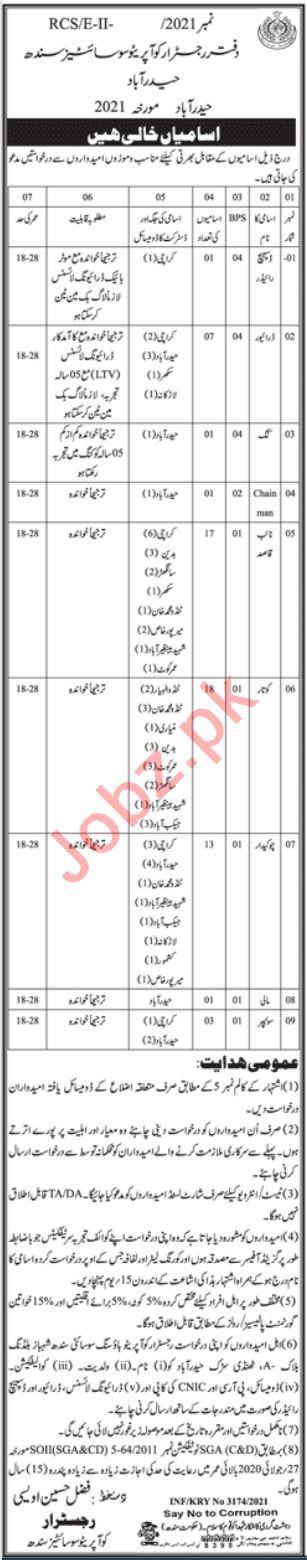 Registrar Cooperative Societies Sindh Jobs 2021 for Drivers