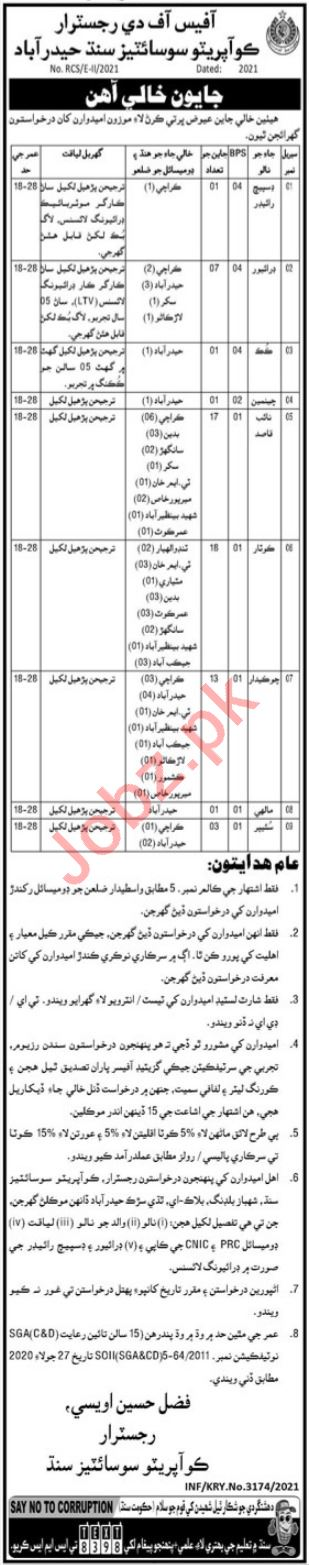 Cooperation Department Sindh Jobs 2021 for Kotar & Driver