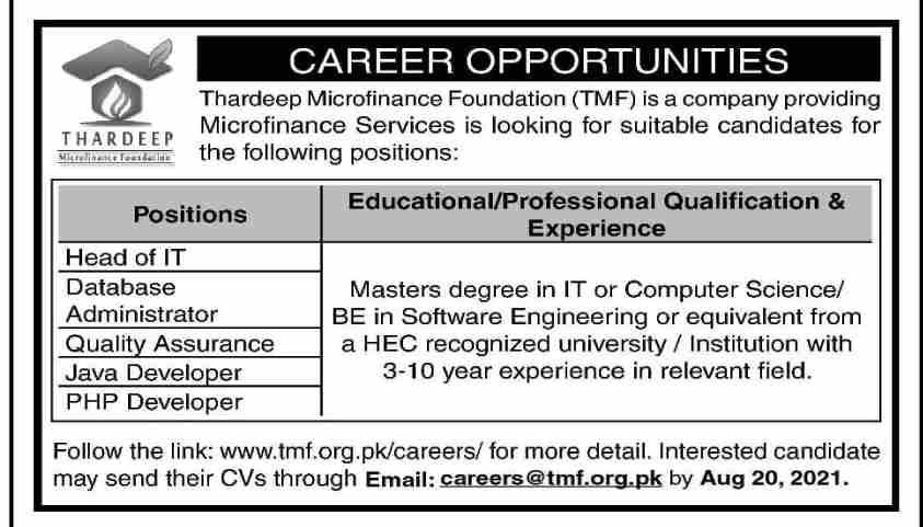 Thardeep Microfinance Foundation Jobs 2021