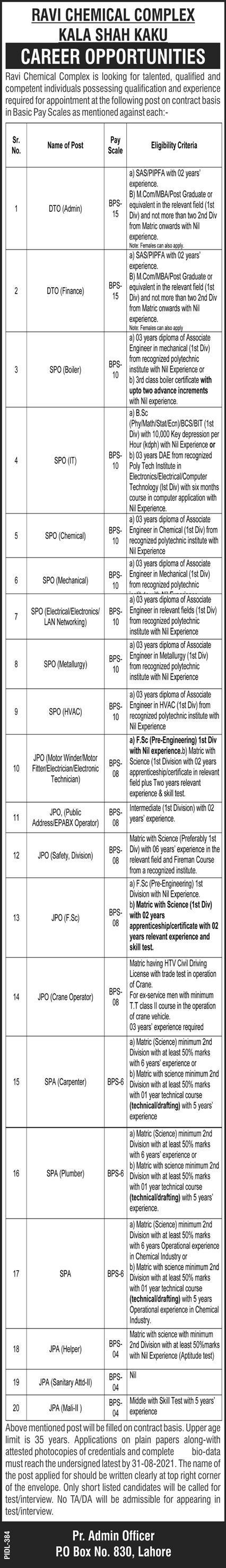 Ravi Chemical Complex Jobs 2021 In Kala Shah Kaku