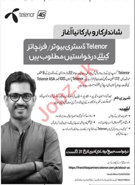 Telenor Franchises Hyderabad Jobs 2021 for Distributor