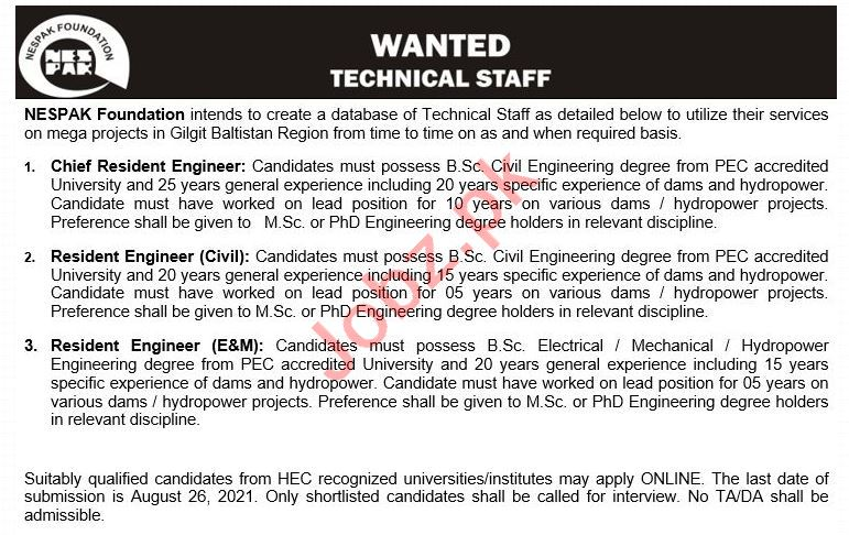 NESPAK Foundation Gilgit Baltistan Jobs 2021 for Engineers