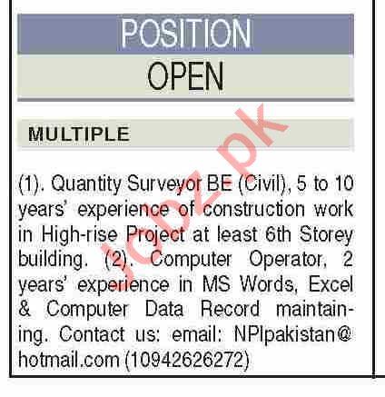 NPI Construction & Engineering Karachi Jobs 2021