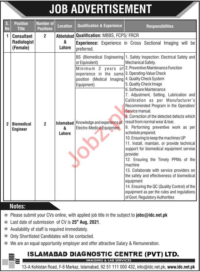 Islamabad Diagnostic Centre ITC Jobs 2021 Medical Consultant