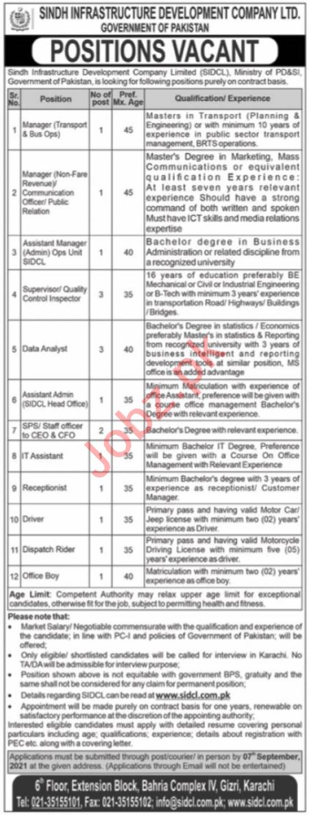 SIDCL Sindh Infrastructure Development Co Jobs 2021 Managers