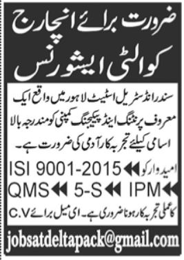 Printing and Packaging Group Jobs 2021 in Lahore