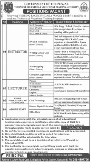 Government College of Technology Jobs 2021 In Rawalpindi