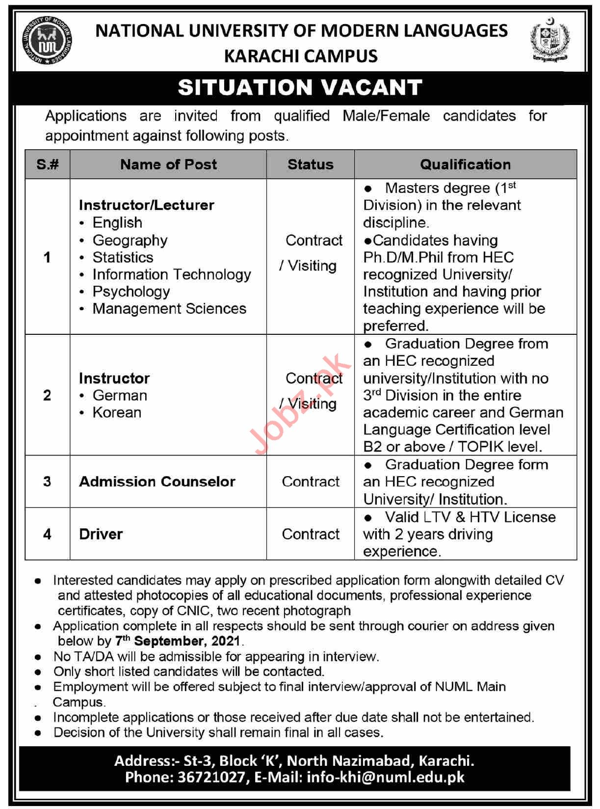NUML University Karachi Campus Jobs 2021 for Lecturers