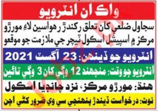 Special School Teacher & Teacher Jobs 2021 in Sujawal