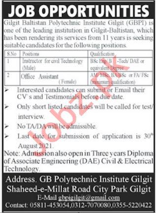 Gilgit Baltistan Polytechnic Institute GBPI Jobs 2021