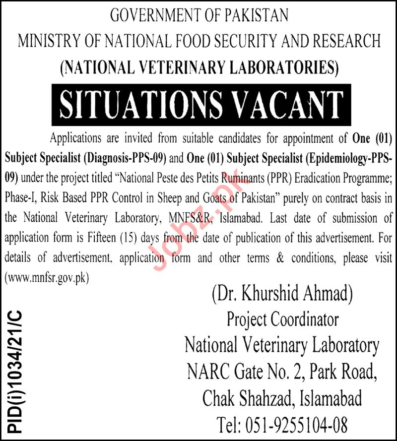 National Veterinary Laboratories NVL Islamabad Jobs 2021