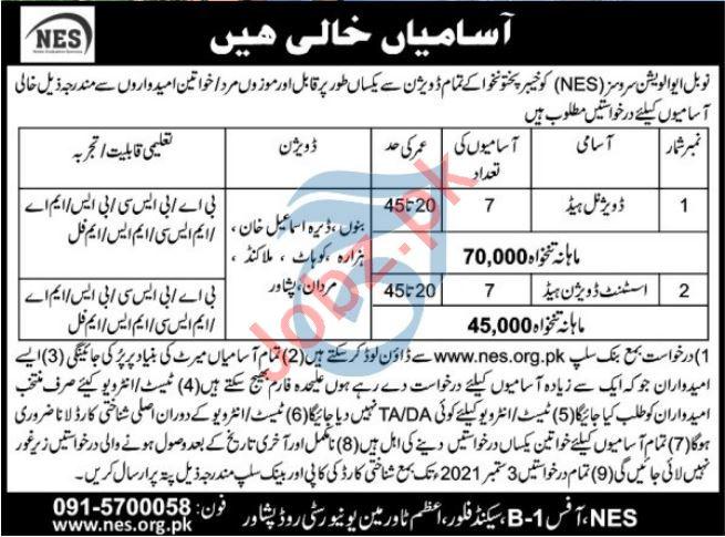 Noble Evaluation Services NES Peshawar Jobs 2021
