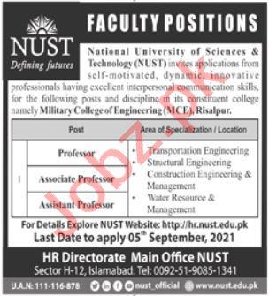 NUST Military College of Engineering MCE Risalpur Jobs 2021